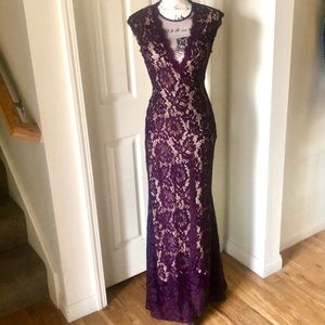 Betsy & Adam Plum Formal Lace Covered Dress size 4